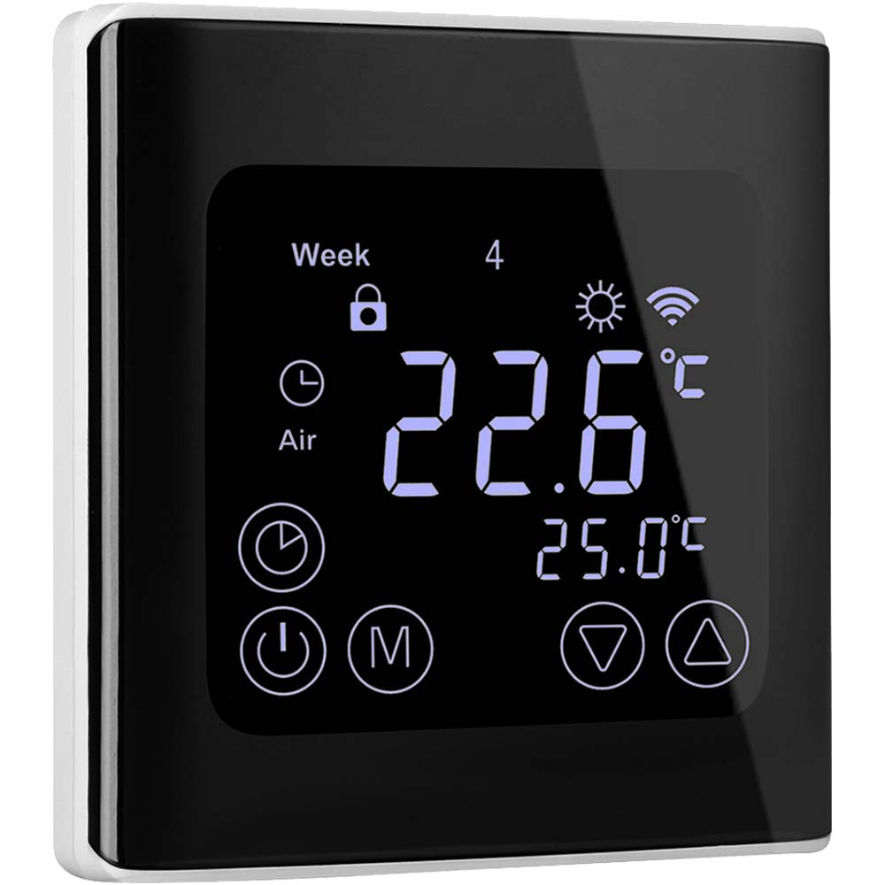 Programmable Thermostat  Floureon Smart Heat Pump Thermostat For Home With Large Led Backlight
