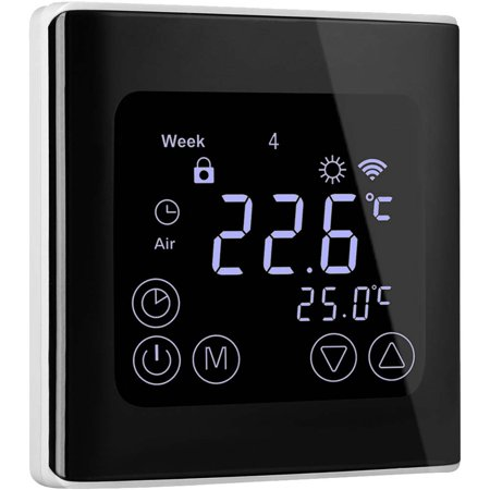 Programmable Thermostat, Floureon Smart Heat Pump Thermostat for Home with Large LED Backlight Touch Screen, Programmable LCD Touchscreen Heating Thermostat, Black