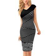 Women's Stripes Sleeveless V Neck Concealed Zipper Back Pencil Dress Black White (Size M / 8)
