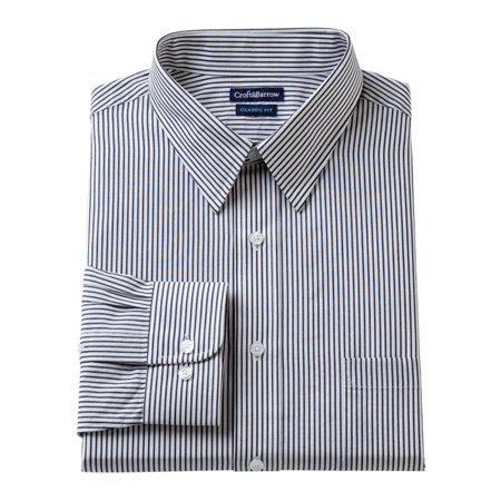 Croft&Barrow Mens Classic Striped Button Up Dress Shirt