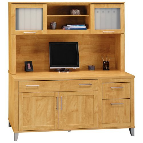 Bush Somerset Credenza Computer Desk and Hutch - Maple