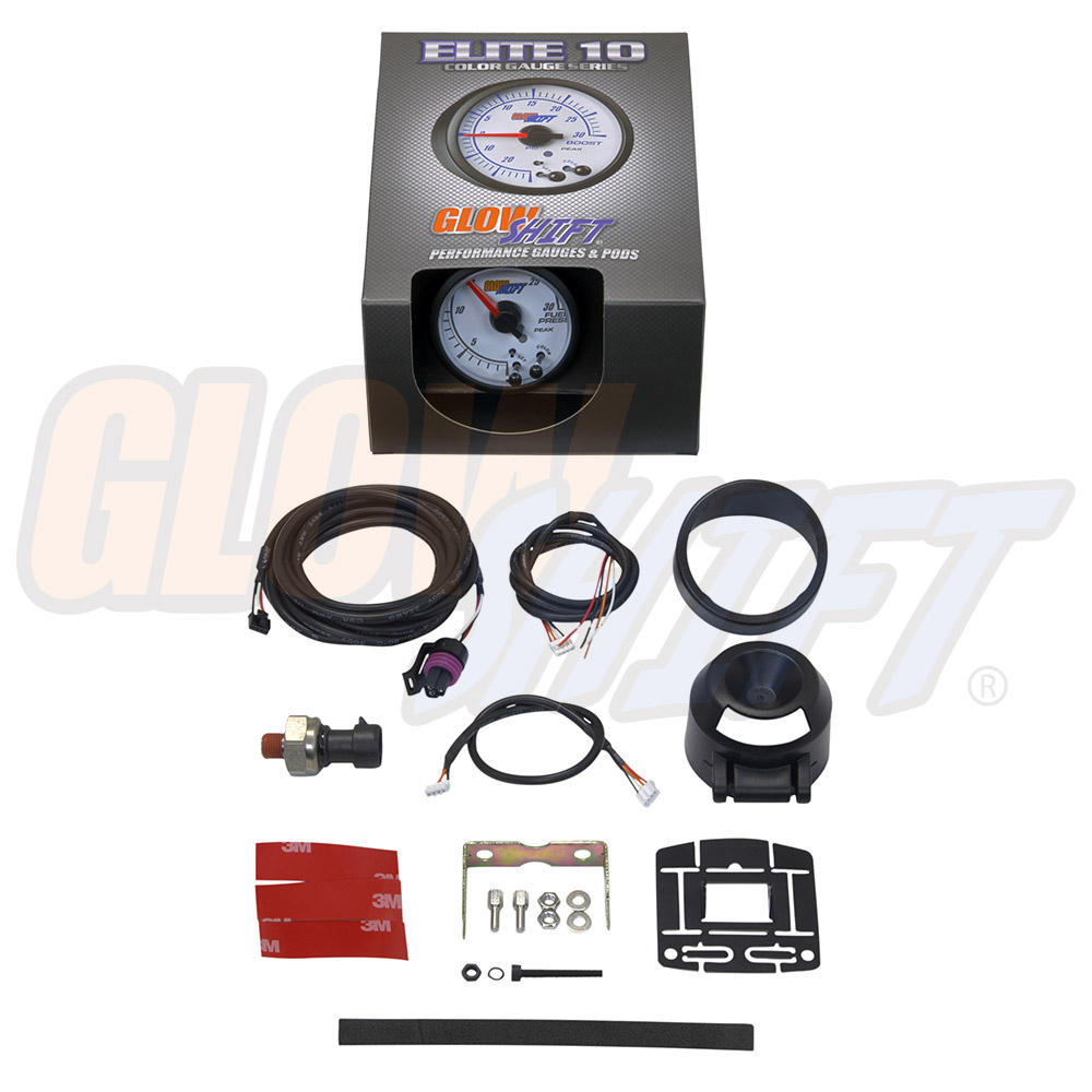 GlowShift White Elite 10 Color 30 PSI Fuel Pressure Gauge Kit For Diesel Trucks Includes Electronic Sensor 2-1//16 52mm GlowShift Gauges GS-EWT11/_30 White Dial Peak Recall Function Clear Lens