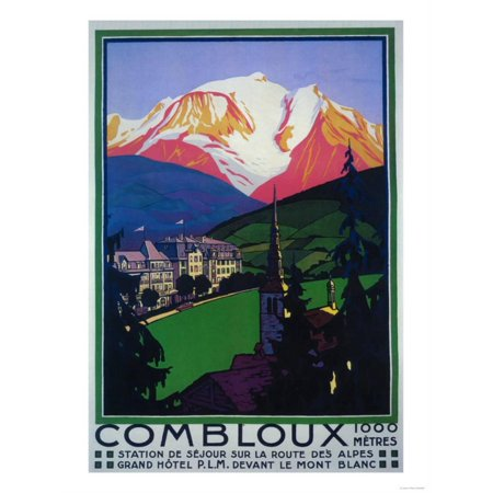 Mont Blanc, France - Skiing at Combloux Promotional Poster Print Wall Art By Lantern (Promotional Press)