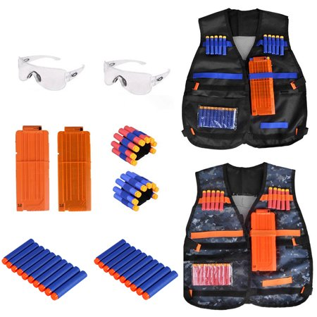 2 Pack Kids Tactical Vest Kit Compatible with N-Strike Elite Series, with 80 Pcs Refill Darts, 2 Reload Clips,2 Hand Wrist Bands and 2 Protective Glasses thumbnail