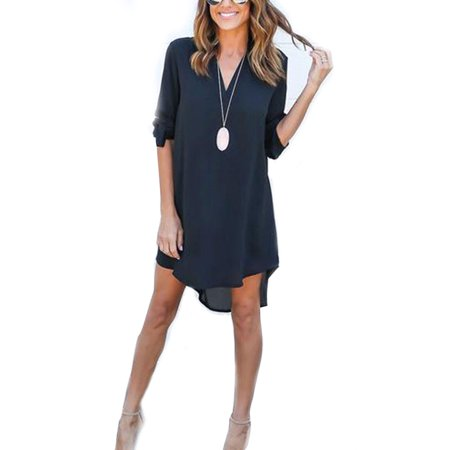 Women Casual Long Roll-Up Sleeve V Neck T Shirt Tunic Dress Ladies Summer Loose High Low Blouse Irregular Tops Plus Size