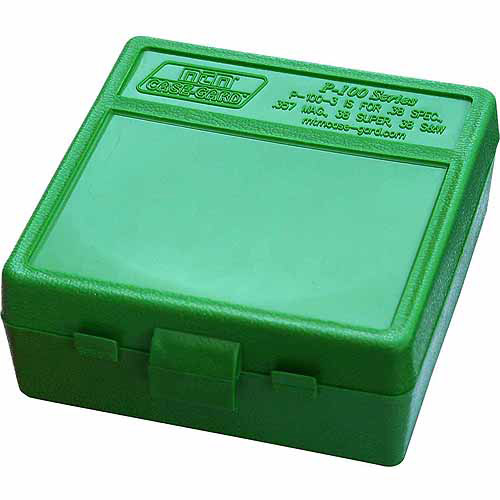 MTM P-100 Flip Top, .38/357, 100-Round Ammo Case, Green/Black