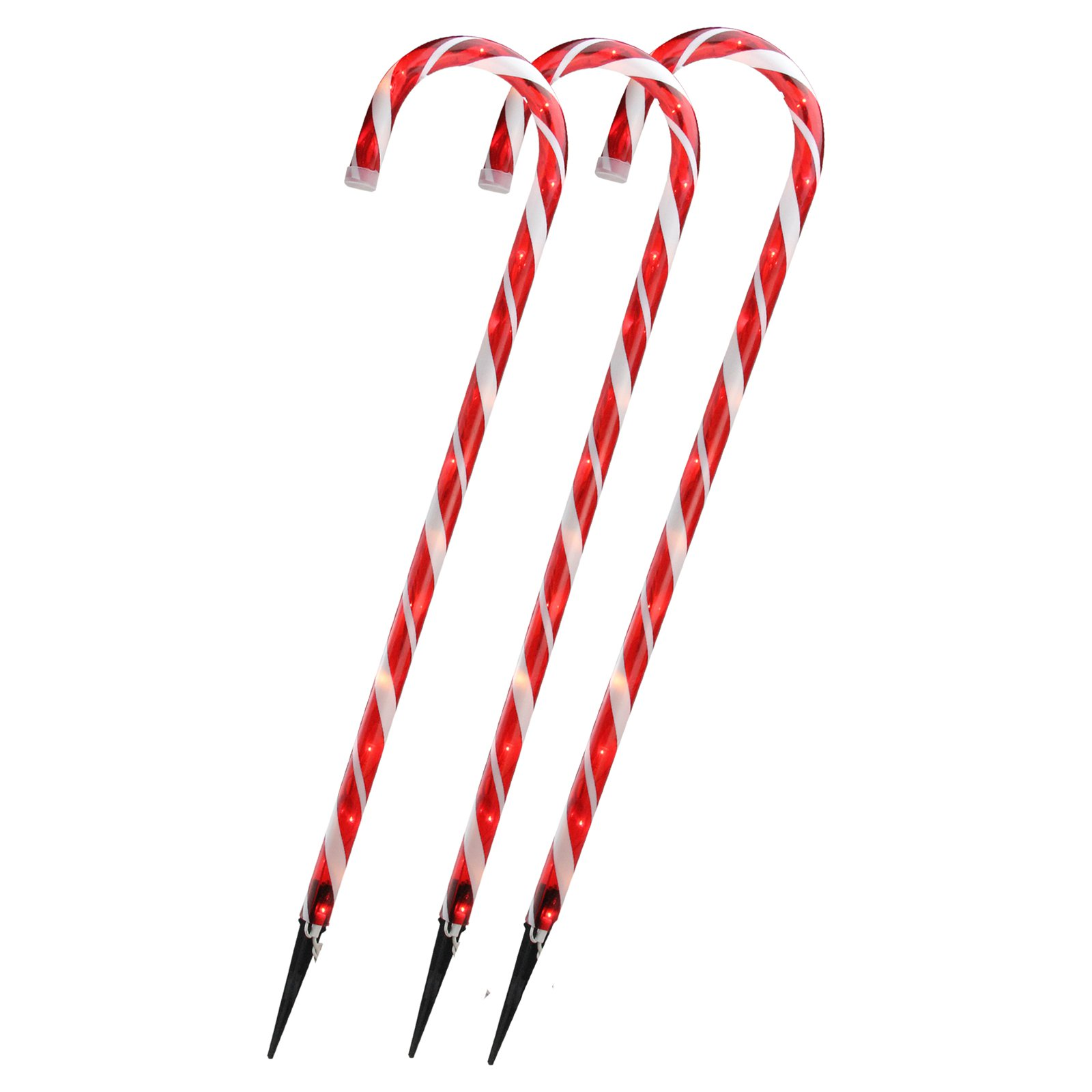 Northlight 28 in. Candy Cane Pre Lit Christmas Outdoor Yard Art - Set of 3