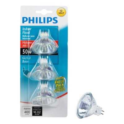 Philips 415802 Landscape and Indoor Flood 50Watt MR16 12Volt Light Bulb, 3Pack Walmart.com