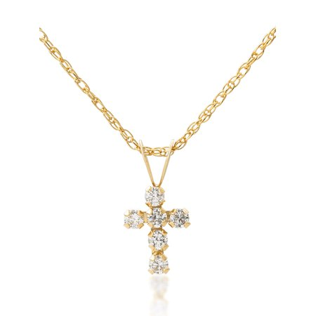 Cubic Zirconia Snowflake Pendant - Girls' 14kt Yellow Gold Clear CZ Cross Pendant, 18