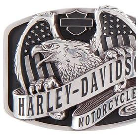 Harley-Davidson Mens Eagle Rider Polished Silver Finish Belt Buckle HDMBU11133