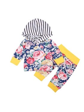 55f22eff Product Image Adorable Newborn Kids Baby Boy Girls Floral Hooded Tops Coat  Long Leggings Pants 2Pcs Outfits Set