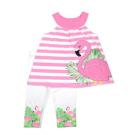 Nannette Striped Flamingo Top & Capri Leggings, 2pc Outfit Set (Toddler Girls)