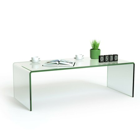 Costway Tempered Glass Coffee Table Accent Cocktail Side Table Living Room Furniture ()