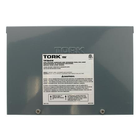 Tork TPX600 Low Voltage Pool Transformer, 600W, 120VAC 2 x 3 AMP Max, Painted Steel, 60Hz 600w Remote Magnetic Transformer