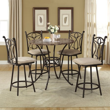 (Home Source Pedestal Counter Height 5-Piece Dining Table Set with Faux Marble Tables and 4 Matching Stools)