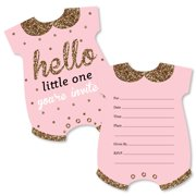 Baby shower invitations hello little one pink and gold shaped fill in invitations girl baby filmwisefo