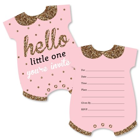 Hello little one pink and gold shaped fill in invitations girl hello little one pink and gold shaped fill in invitations girl baby filmwisefo