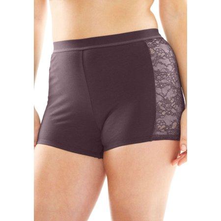 Comfort Choice Plus Size Lace Trim (Lace Trim Boyshort)