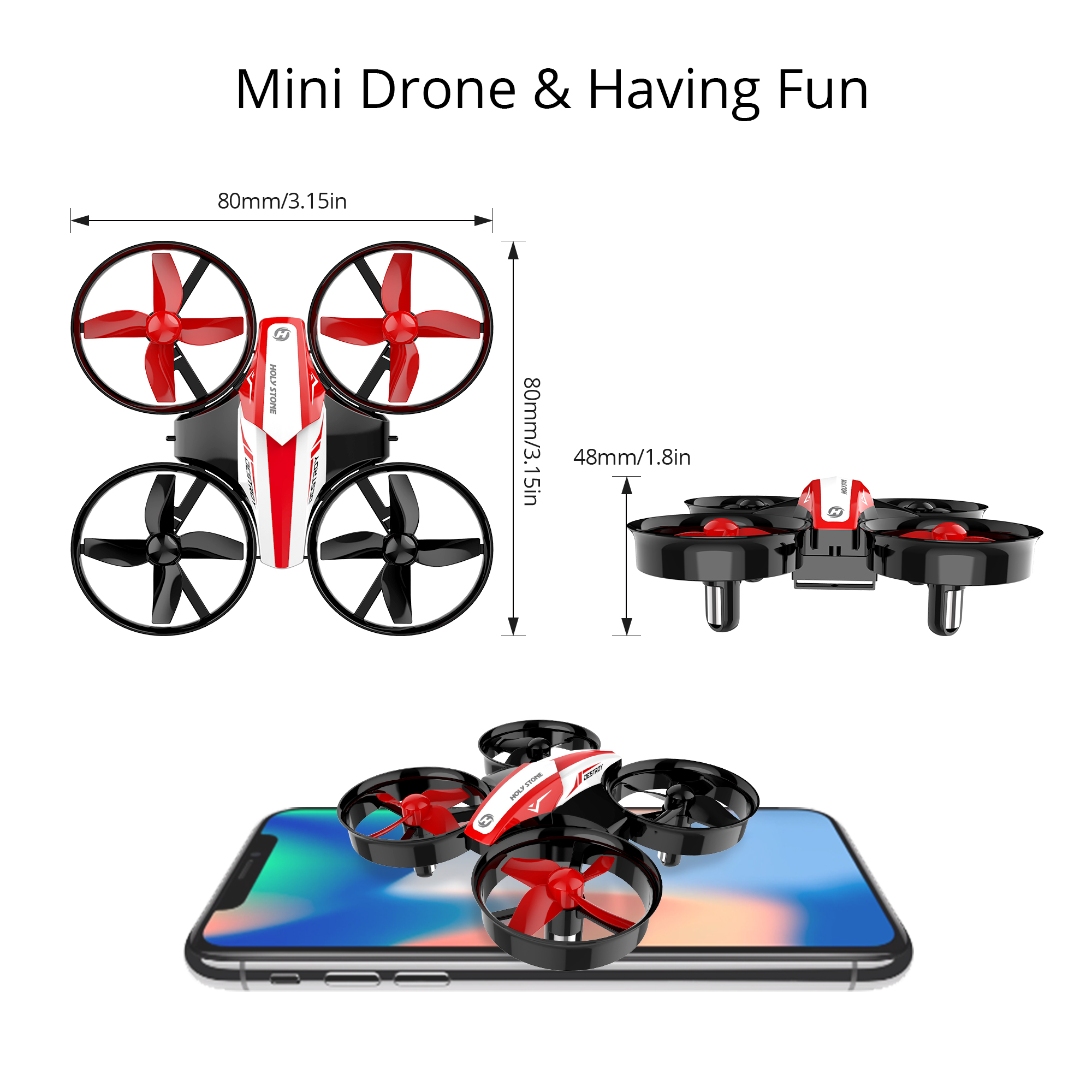 Holy Stone HS210  Mini Drone RC Quadcopter Helicopter 3 Battery 3D Flip for Kids
