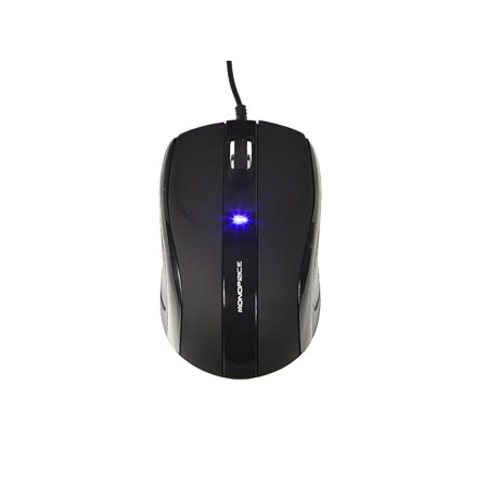 Monoprice Soft Touch 3-Button Optical Mouse - Black, Rubber Coated & Silky Smooth Surface, Chrome'd Cylindrical Scroll