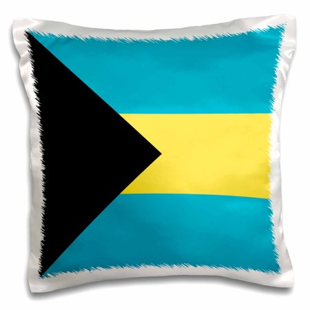 3dRose Flag of the Bahamas islands. Bahamian blue yellow gold stripes black triangle country world souvenir - Pillow Case, 16 by 16-inch