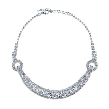 Art Deco Style Bridal Wedding Prom Holiday Crystal Choker Adjustable Evening Collar Statement Necklace For Women