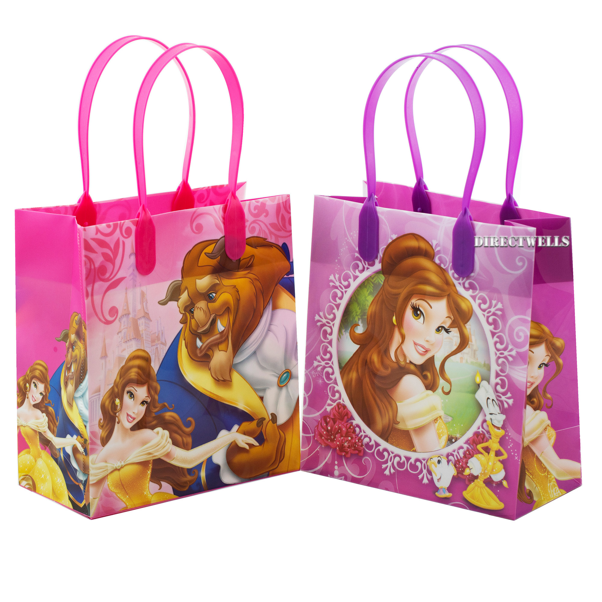 Disney Princess Belle Beauty and The Beast 12 Reusable Small Goodie Bags 6""
