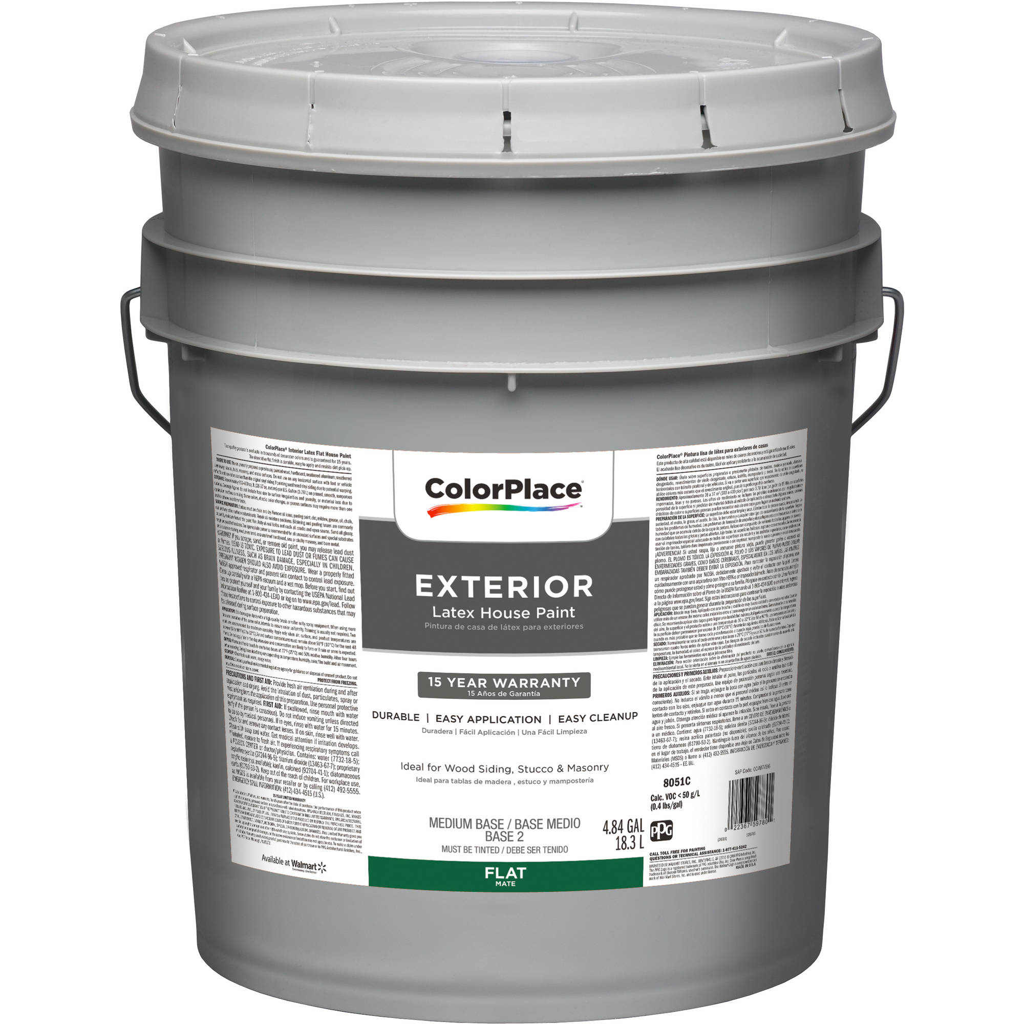 Amazing ColorPlace Exterior Flat Medium Base Paint, 5 Gal