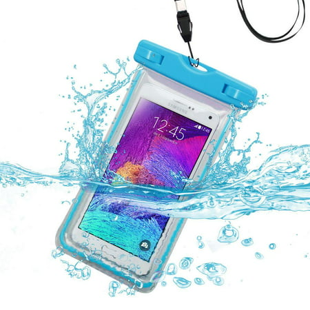 Waterproof Sports Lightning Case Bag Pouch (with Lanyard) for Alcatel A7 XL/ Idol 4S/ PLUS 12/ OneTouch IDOL 3/ 4/ 5/ Fierce/ GO FLIP/ Idol X/ A7/ QuickFlip (Light Blue) + MND Mini (Alcatel One Touch Idol X Plus Price)