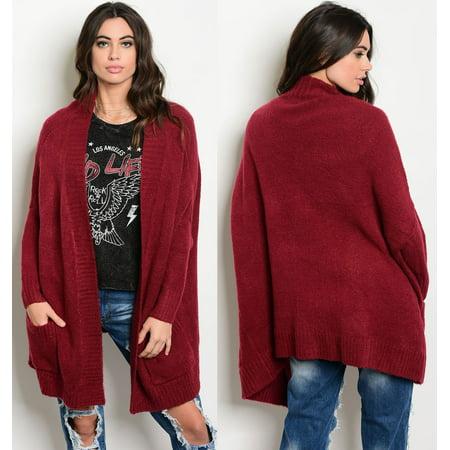 JED FASHION Women's Oversized Cotton & Acrylic Thick Knit Cardigan Sweater - Acrylic Sweaters