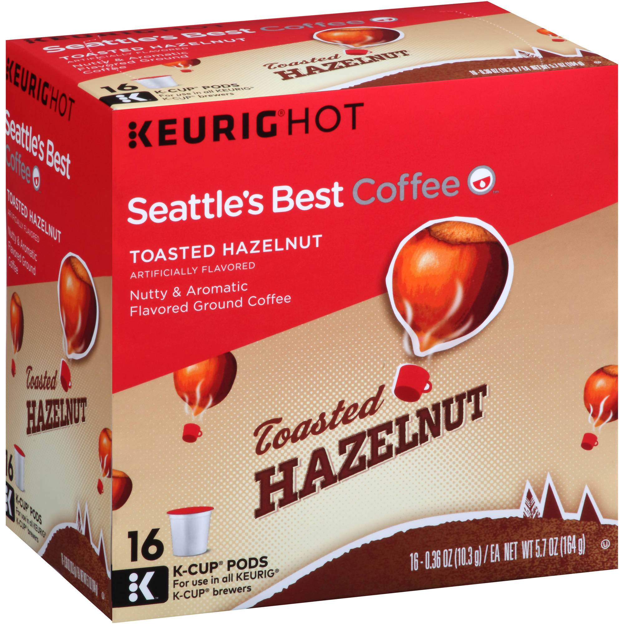 Seattle's Best Coffee Toasted Hazelnut Ground Coffee K-Cup Pods, 0.36 oz, 16 count