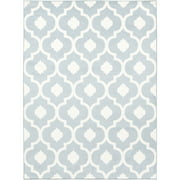 6.7' x 9.6' Geometric Quatrefoil Gray Blue and White Decorative Area Throw Rug