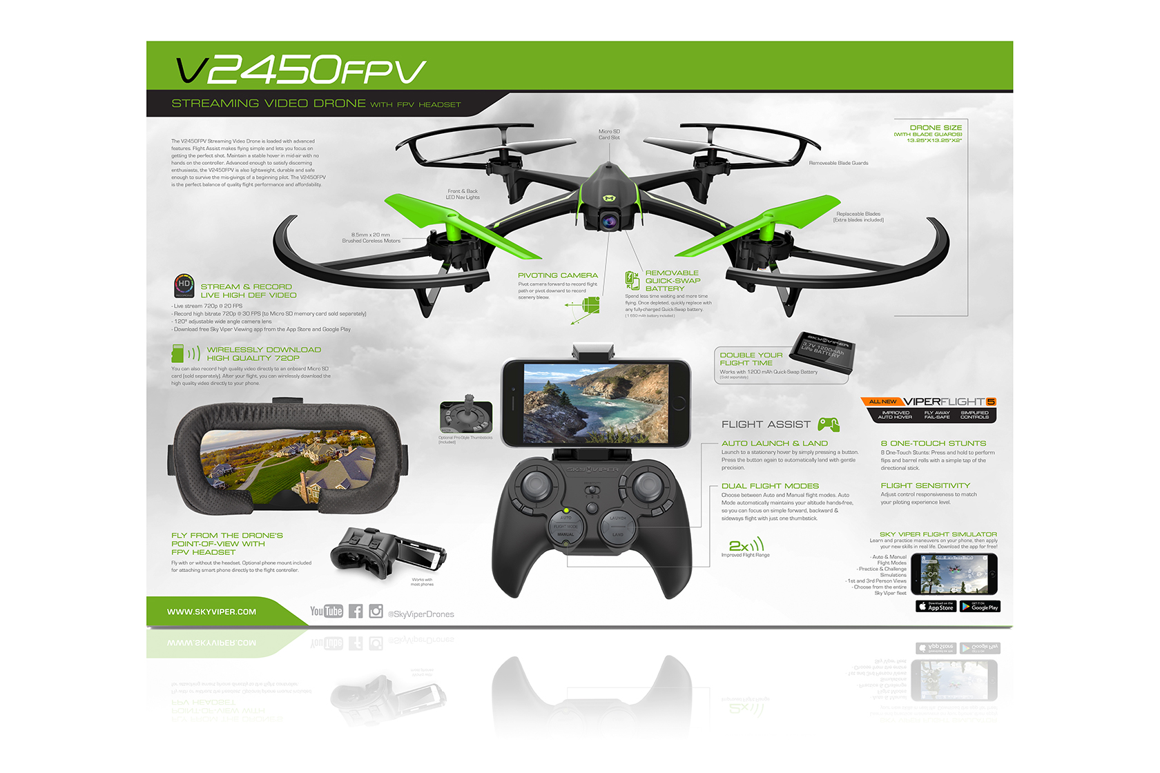 Sky Viper App >> Sky Viper V2450 Hd Video Streaming Drone With Fpv