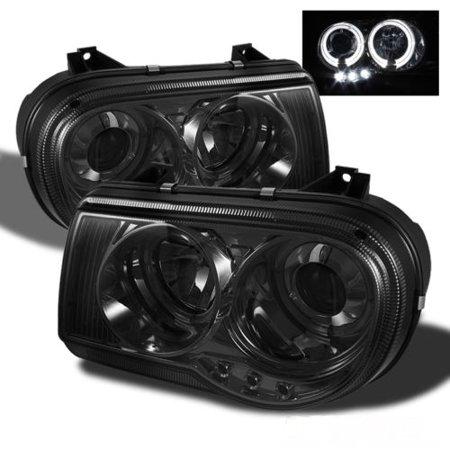 TD DRL LED Halo Projector Headlights (Smoke) - 05- 10 Chrysler 300C (Exc. 300)