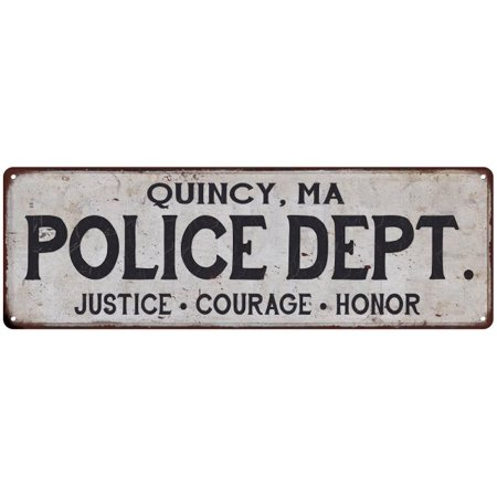 QUINCY, MA POLICE DEPT. Vintage Look Metal Sign Chic Decor Retro - Home Depot Quincy Ma