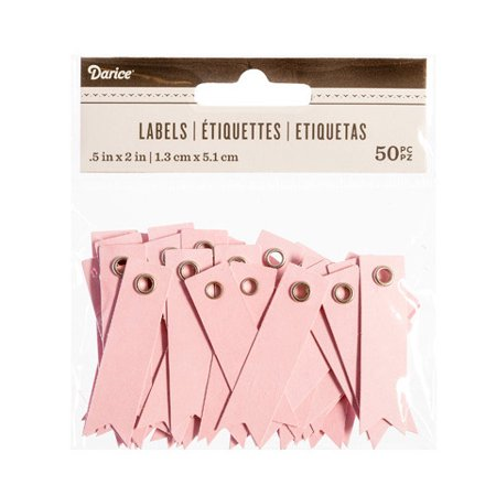 Darice Solid Pink Blank Eyelet Tags: 2 X .5 Inches, 50
