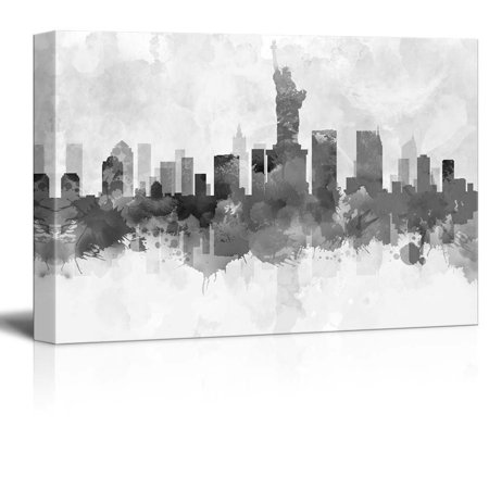 - wall26 Black and White New York City Statue of Liberty with Watercolor Splotches - Canvas Art Home Decor - 16x24 inches