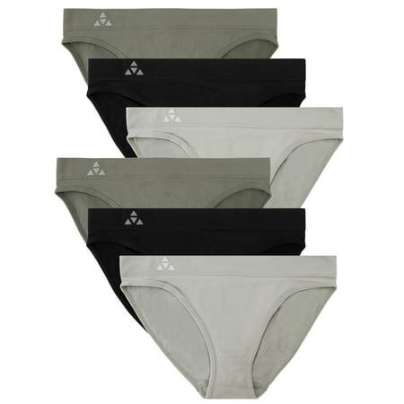 Balanced Tech Women's 6 Pack Seamless Low-Rise Bikini Panties - Grey/Charcoal/Black - X-Small Low Rise Bikini Panty