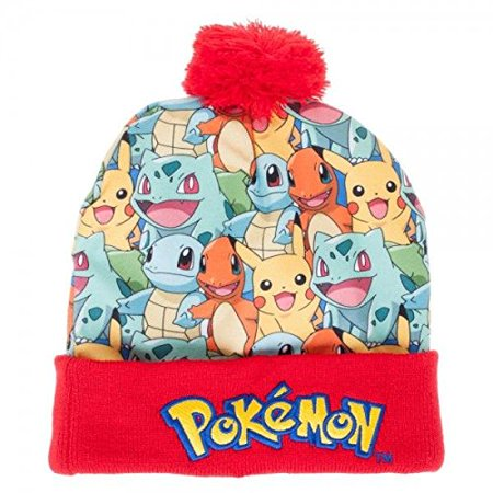 Pokemon Kanto Starter Group Sublimated Pom Beanie Cap ()