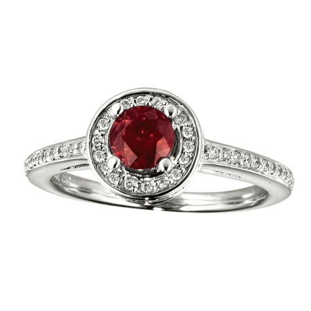 14k White Gold Ruby and Diamond Double Circle Ring Diamond Double Circle Ring