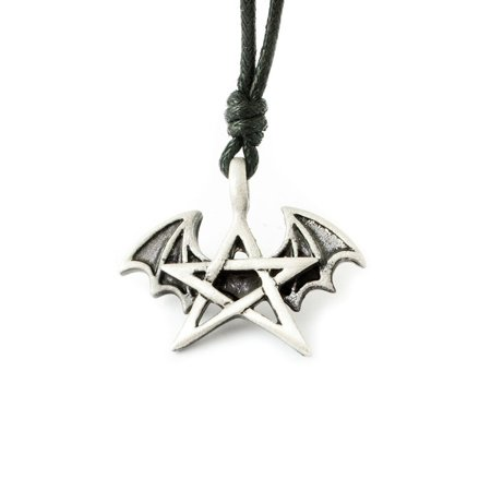 Winged Pentagram Silver Pewter Charm Necklace Pendant Jewelry With Cotton Cord