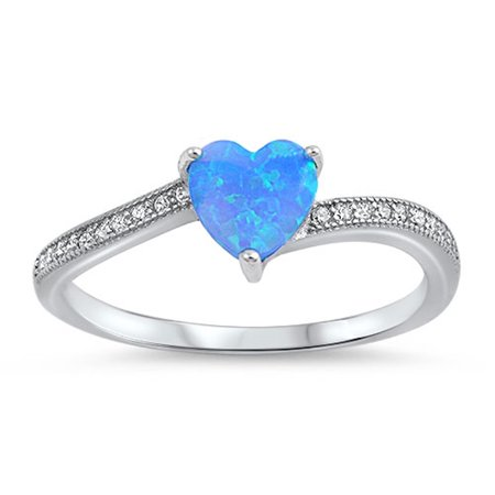 Opal October Birthstone Ring (CHOOSE YOUR COLOR Clear CZ Blue Simulated Opal Heart Promise Ring .925 Sterling Silver)