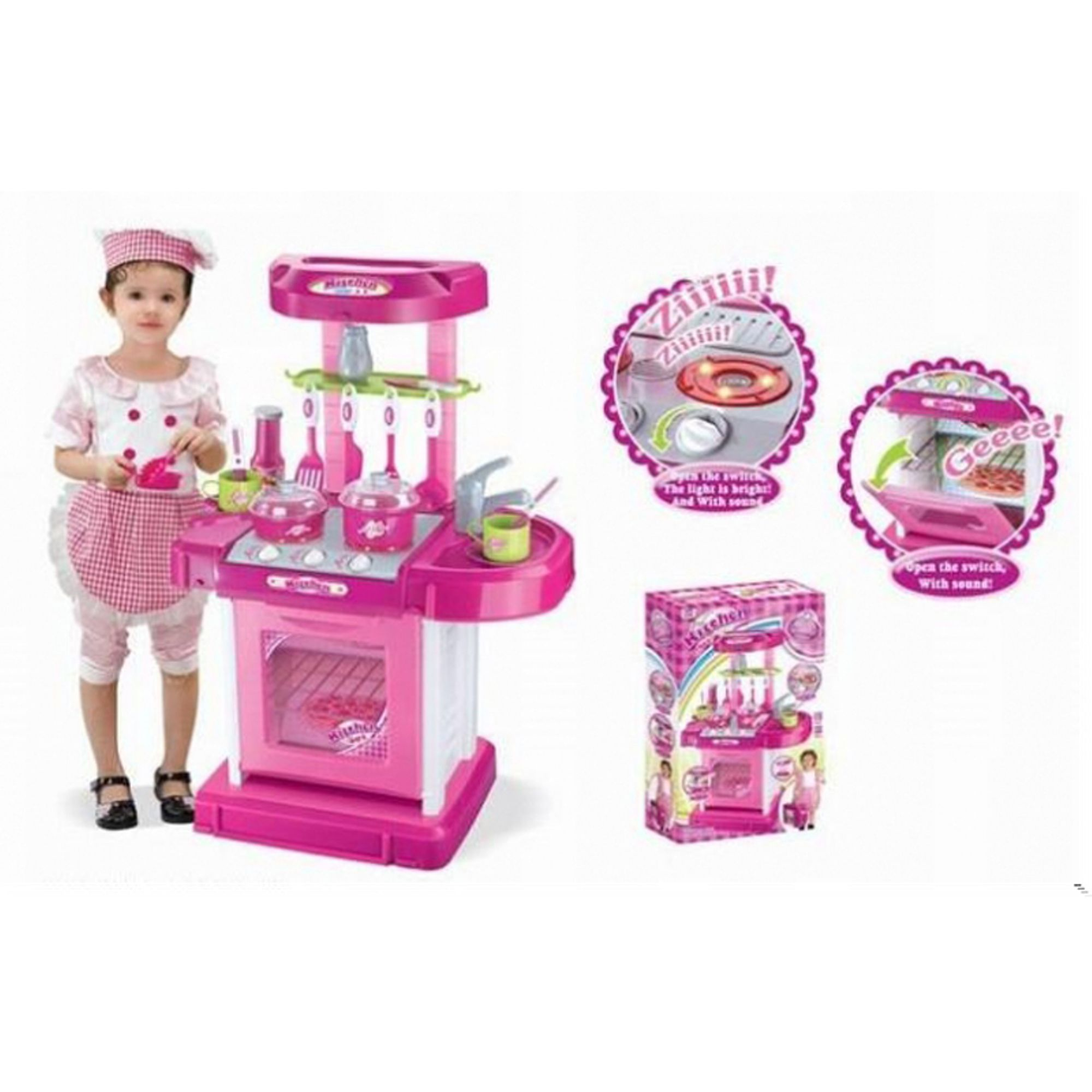 "26"" Portable Kitchen Appliance Oven Cooking Play Set w/ Lights & Sound (Pink) TF858 16.5""L x 10""W x 26""H."