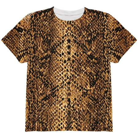 Halloween Desert Brown Snake Snakeskin Costume All Over Youth T Shirt - Snake Charmer Costume