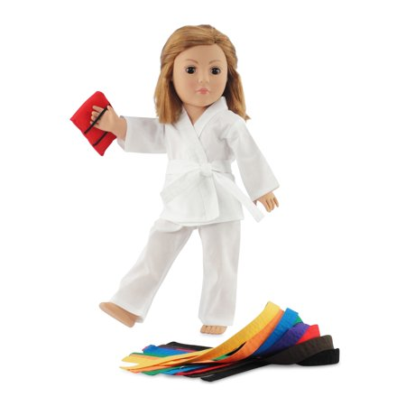 """Fits 18"""" American Girl Doll Karate Outfit - 18 Inch Doll Clothes/clothing Includes 18"""" Accessories. All Color Belts Included."""