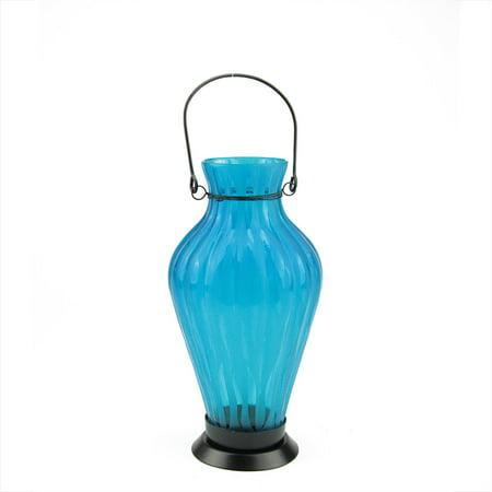 "9.5"" Frosted Blue Ribbed Vase Glass Bottle Tea Light Candle Lantern Decoration"
