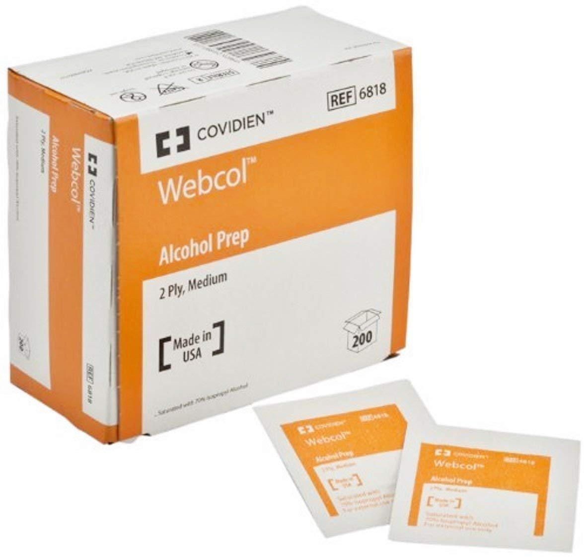 Special Sale - 5 Boxes of 200 - WEBCOL Alcohol Prep Pads KND6818 KENDALL MP-KND6818 Box, Premium pad material provides maximum absorbency for.., By COVIDIEN,USA