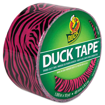 "Colored Duct Tape, 9 mil, 1.88"" x 10 yds, 3"" Core, Pink Zebra, Sold as 1 Roll"