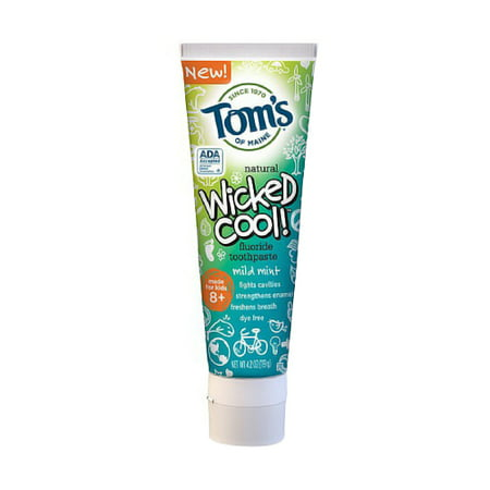 Toms Of Maine Wicked Cool Kids Anticavity Fluoride Toothpaste, Mild Mint - 4.2 Oz, 2 Pack ()