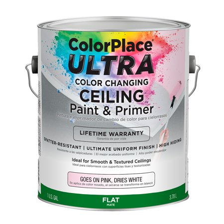 Colorplace Ultra Flat Interior Color Changing Bright White Ceiling Paint And Primer 1 Gal